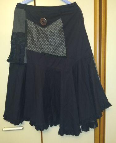 Czarna artystyczna spódnica patchwork - rozm. 38-40