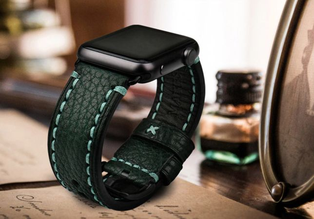 Apple Watch, 44mm. Oryginalny pasek skórzany MAIKES, nowy.