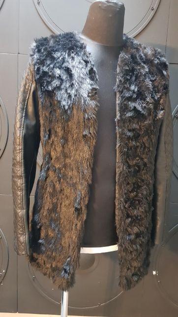 Kurtka -płaszczyk damski eko-skóra z futerkiem roz 40