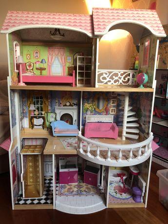 Duży domek drewniany dla lalki barbie + lalki