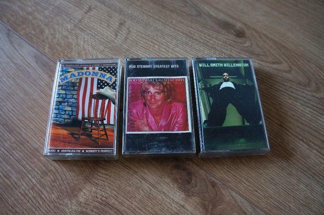 82. Kasety magnetofonowe! 3 szt. kaseta, MADONNA, Rod Stewart, Smith