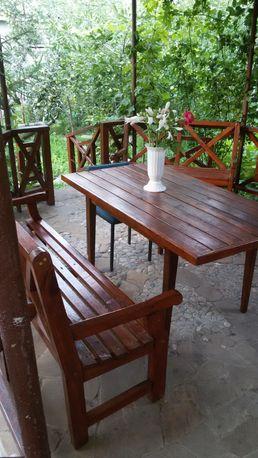 Стол и 2 скамейки садовые комплект.