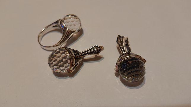 Серебряный набор серебряное кольцо серебряные серьги хрусталь серебро