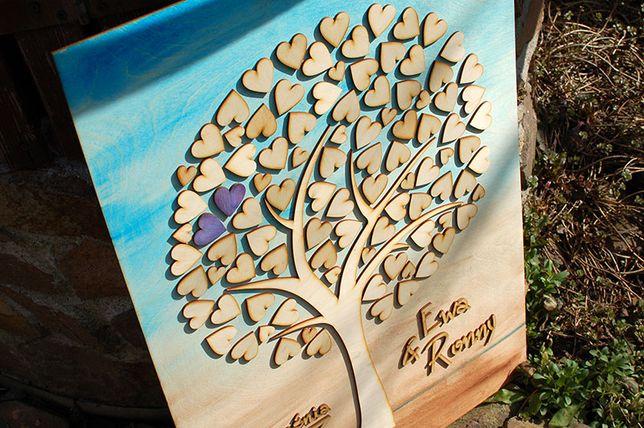 Księga gości – drzewko z serduszkami (96 szt.)