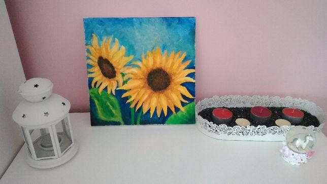Obraz olejny na płótnie słoneczniki ręcznie malowany 30 x 30 cm