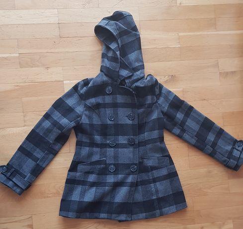 Płaszcz zimowy z kapturem w kratę rozmiar XL wysyłka gratis