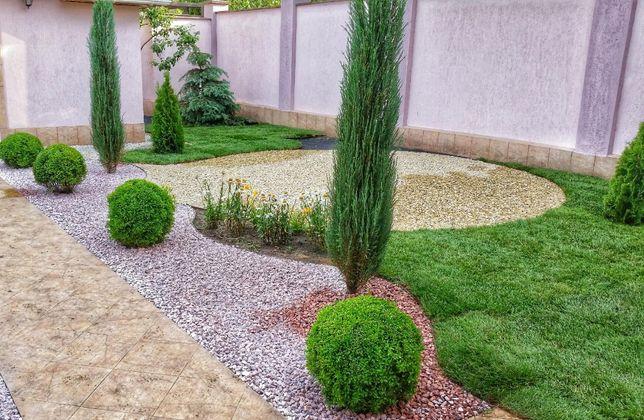 Садовник.Рулонный газон.Посадка растений.Ландшафтный дизайн