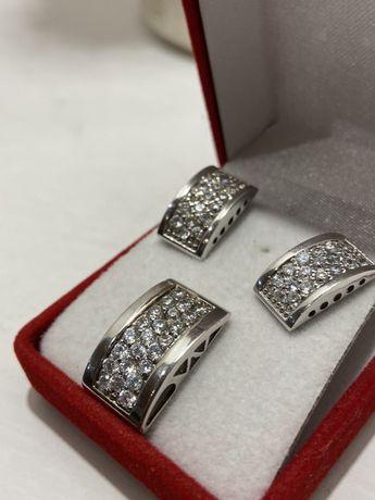 Серьги и подвеска. серебро с цирконием