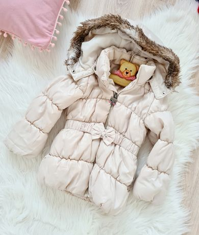 H&M kurtka zimowa płaszczyk kremowy z kapturem futerko 3-4lata 98-104
