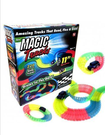 Magic Tracks гнущий светящийся трек 220 деталей, Гоночный трек игрушка
