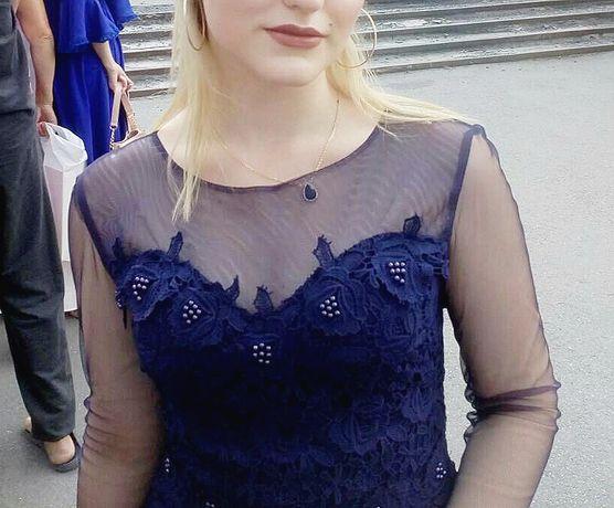 Вечернее элегантное синее выпускное платье