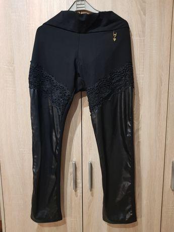 Spodnie zentex czarne gipiura i ecoskóra