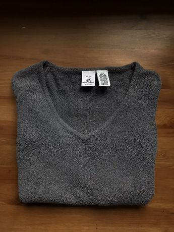 Szara bluzka w serek Armani Exchange