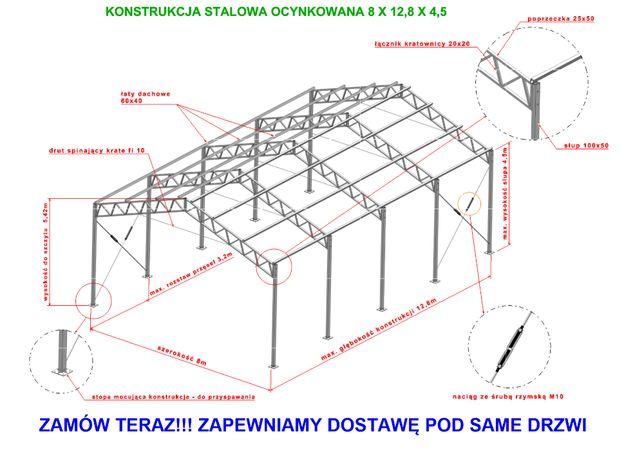 Konstrukcja 8x12.8stalowa ocynkowana magazyn hala wiata garaż warszta