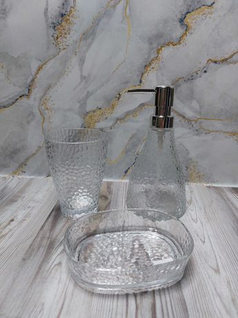 Набор аксессуаров в ванную мыльница стакан для зубных щеток стекло