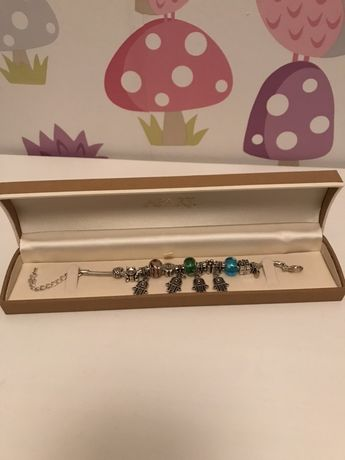 Jak nowa srebrna bransoletka kolorowe charmsy j Pandora