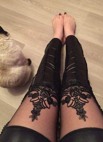 Sexy legginsy z koronką Eco skóra rozmiar S M L