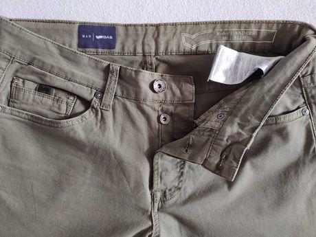 Męskie spodnie Gas  33W/32L slim zieleń