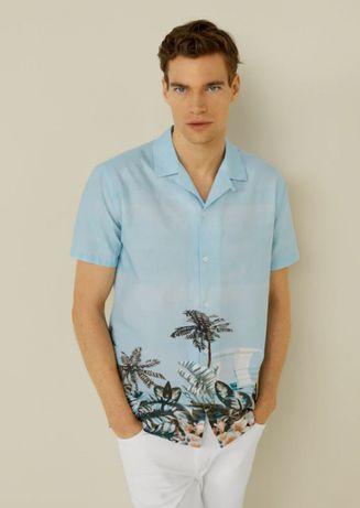 Рубашка мужская гавайка гавайская летняя Mango оригинал, р L,XL