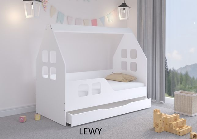 Łóżko dziecięce DOMEK z SZUFLADĄ 140x70 BIAŁE + materac