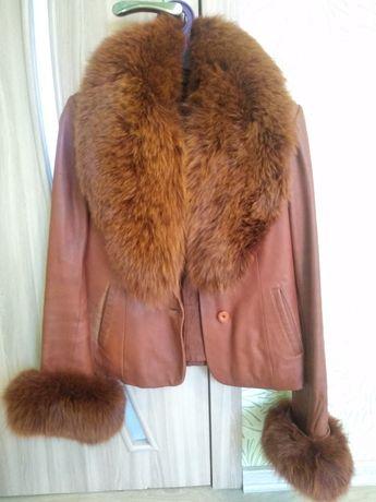 Кожаная куртка натуральный мех дубленка