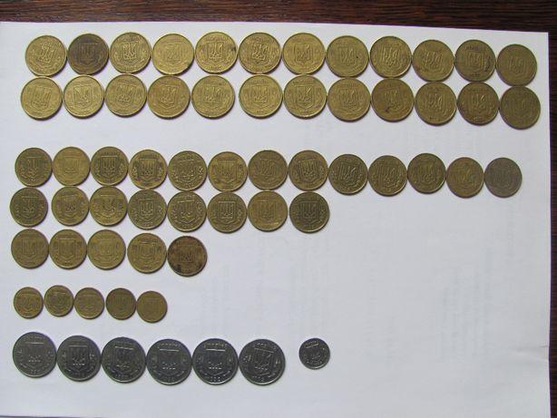 Монеты 1, 5,10, 25, 50 копеек 1992г, 1994г, 1996г
