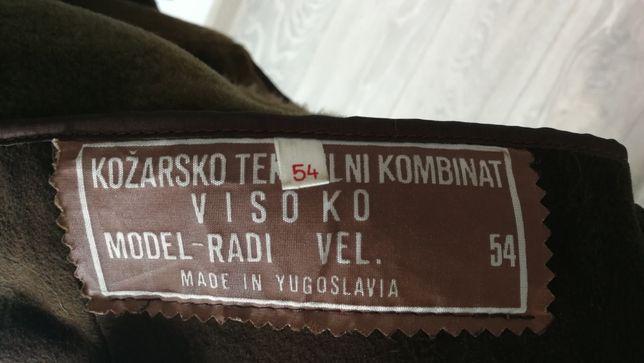 UNIKAT skórzany, długi kożuch męski vintage 54, Jugosławia, PRL, brąz
