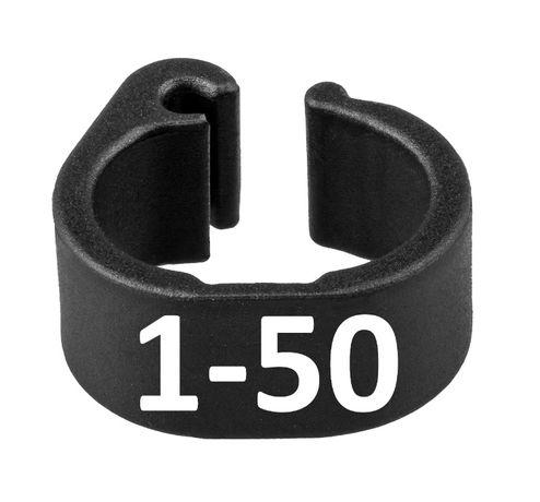 Znaczniki dla gołębi 8x6 mm numerowawane 1-50 BARCZAK