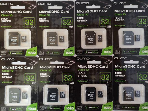 Карта Памяти Micro SD QUMO 32 GB Class10 + Адаптер, Новые!
