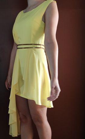 Sukienka żółta na wesele okazje okolicznościowa rozmiar S