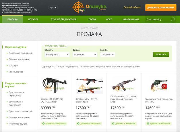 Доска объявлений охотничье оружейной тематики. Готовый бизнес.