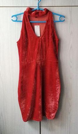 Ruda pomarańczowa sukienka welurowa z chokerem Miss Pretty World