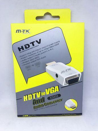 Adaptador conversor HDMI para VGA com saída de áudio Jack 3.5mm