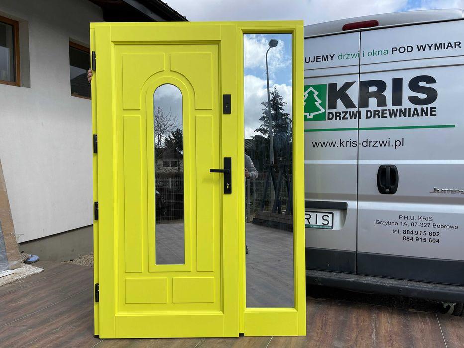 Drzwi zewnętrzne drewniane żółte 1016 DOSTAWA CAŁA POLSKA Grzybno - image 1