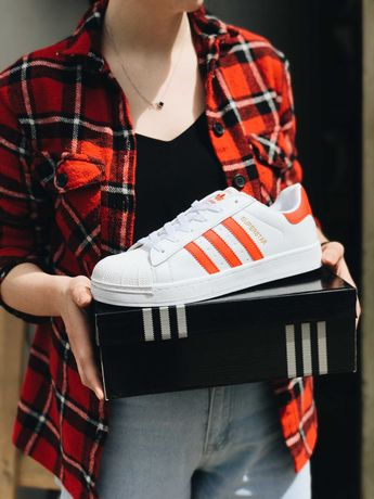 Кроссовки белые красные Adidas Superstar White Red Адидас Суперстар