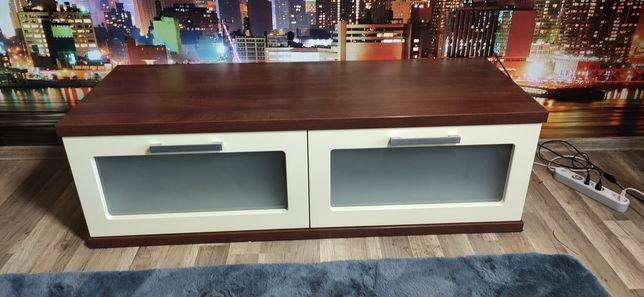 Komoda szafka pod TV drewno biały połysk VENGE