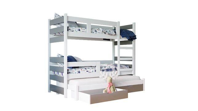 Łóżko piętrowe dla dzieci MIA trzyosobowe z szufladami i materacami!