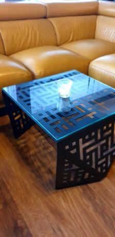 Stolik kawowy czarny 60x60x45 szkany blat