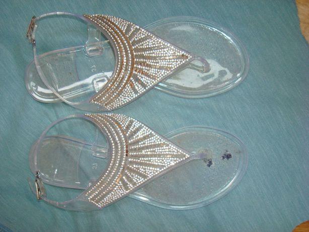 Босоніжки/в'єтнамки 24.5 см, прозорий пластик, кристали