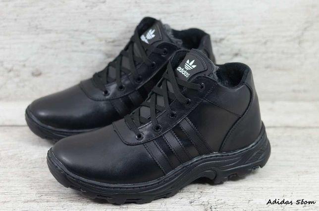 ADIDAS 5 зимние кожаные прошитые мужские ботинки кроссовки на меху