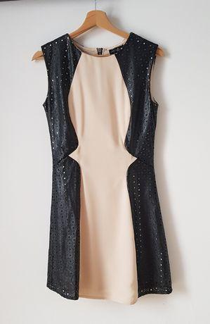 Nowa Sukienka czarna skórzana bezowa z podszewką krotka azurowa
