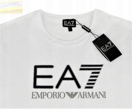 T-Shirt Męski EA7 Emporio ARMANI ,roz. M,L biała - Premium z U.K.!