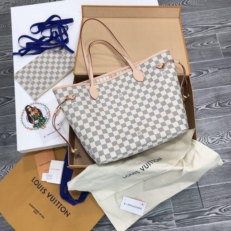 Сумка Louis Vuitton LV Neverfull MM канва натуральная кожа