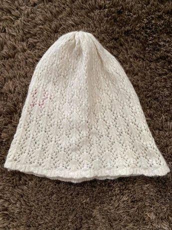 Biała czapka wełniana wełna damska Tiffi