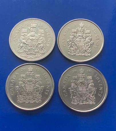 Монеты Канада 50 центов разные года