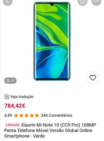 Xiaomi Mi Note 10 - 5 Câmaras - 108MP c/ oferta CAPA E PELÍCULA