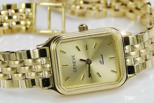 Prześliczny 14k złoty damski zegarek Geneve TANIO!!! lw062y B