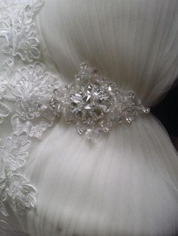 suknia Ślubna 38-40, awory, perła, syrenka, koronka, kryształki