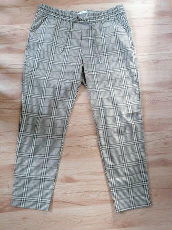 HM spodnie do kostki krata beż brąz roz 42