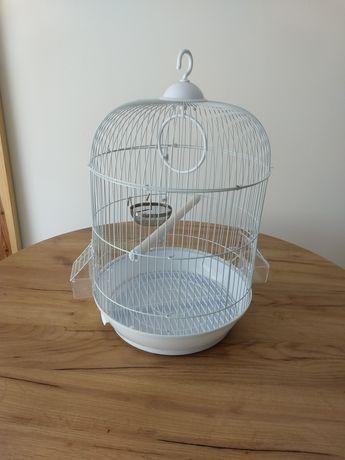 Biała owalna klatka retro dla ptaków kanarka zeberek papug zestaw